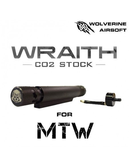 MTW WRAITH CO2 Stock for MTW, Includes Storm InBuffer Regulator Wolverine airsoft